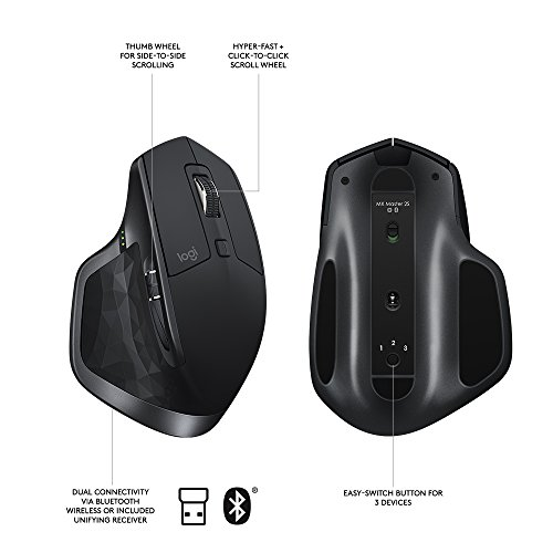 Logitech MX Master 2S Wireless Mouse with FLOW Cross-Computer Control and File Sharing for PC and Mac - 910-005131
