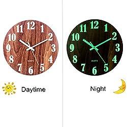 XSHION Luminous Wall Clock,12 Inch Silent Wall Clock,Night Light Clock for Living Room Kitchen-Type 1