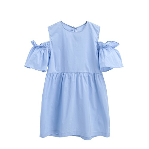 MIQI Girls Cold Shoulder Casual Summer Dress-Blue 2 Years