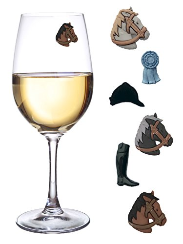 Kentucky Derby Party Wine Charms for Glasses Magnetic Drink Markers Set of 6 Charms by Simply Charmed