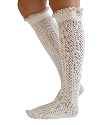 Lace-Boot-Socks-Knee-High-Socks-Ruffled-Lace-Trim-Buttons-Leg-Warmers-for-Boots