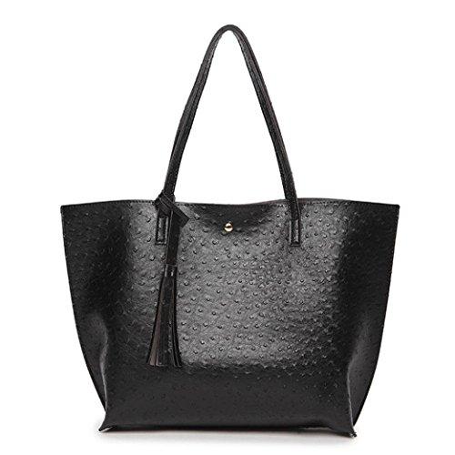 Damen Handtaschen, Huhu833 Frau Vintage Taschen Frauen Leder Quaste Große Kapazität Handtasche Strauß Muster Umhängetasche Schwarz