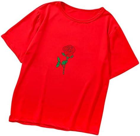レディース シャツ 夏 丸首 上着 ローズプリント Tシャツ レディース カットカジュアル ソー シンプル カットソー コメント カジュアル ゆったり 着やせ 人気 フ 大きいサイズ シャツ 柔らかい 母の日