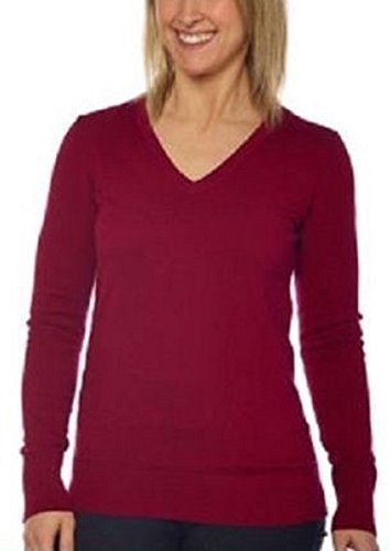 (Kirkland Signature Womens V-Neck Sweater, Pima Cotton Blend (Medium, Bordeaux (Red)))