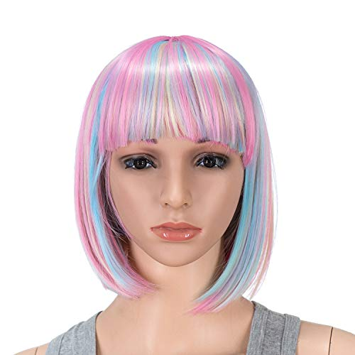 SWACC 10 Inch Pink Blue Blonde Multi-Colored Short Straight Bob Wig with Bangs Synthetic Colorful Cosplay Daily Party Flapper Wig for Women and Kids with Wig Cap (Fun Summer Hair Color For Short Hair)