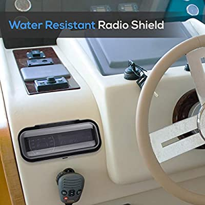 Water Resistant Marine Stereo Cover - Smoke Colored Heavy Duty Boat Radio Protector Shield with Flip-up Door & Spring Loaded Release - Mounting Gasket Included - Pyle PLMRCB1: Electronics