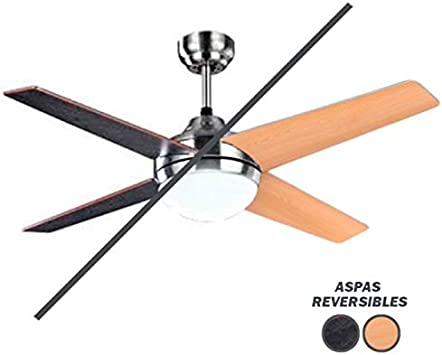 Ventilador de Techo Moderno con Mando a Distancia. 4 Aspas Color Wengué/Haya. 1xE27. 112 cm Diámetro. Control Remoto
