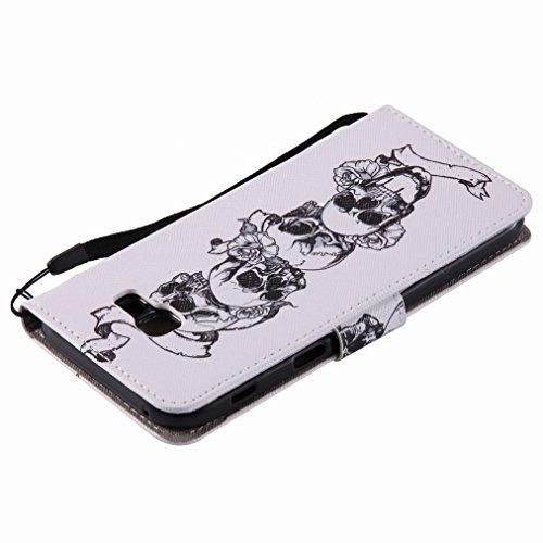 Yiizy Samsung Galaxy A5 (2017) Custodia Cover, Cranio Design Sottile Flip Portafoglio PU Pelle Cuoio Copertura Shell Case Slot Schede Cavalletto Stile Libro Bumper Protettivo Borsa