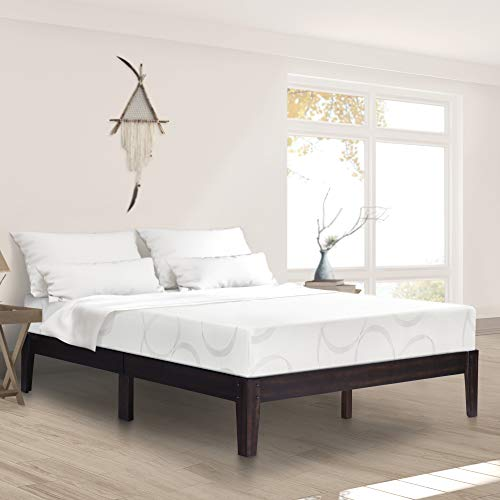 - Ecos Living 14 Inch Solid Wood Platform Bed with Natural Finish (Dark Brown, Queen)