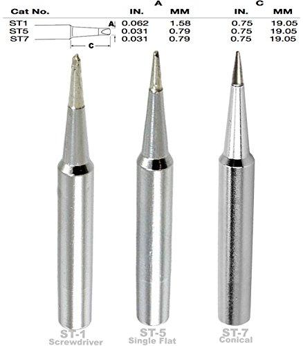 (Weller ST1, ST5, ST7 Screwdriver,Single Flat, Conical Tip, Tip Nozzle for SP40L, SP40N, WLC100, WP25, WP40, WP30 WP35, Soldering, Desoldering, Rework Tips, Nozzles, ST-1, ST-5, ST-7)