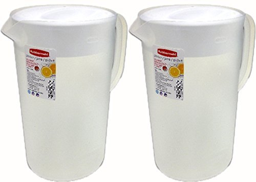 Rubbermaid Classic, Clear Pitcher With White lid, 1 Gallon, (Pack of 2) (Lid Plastic 1 With Gallon Pitcher)