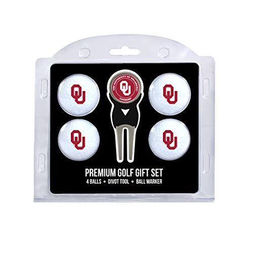 Team Golf NCAA Oklahoma Sooners Regulation Size Golf Balls (4 Count) & Divot Tool with Removable Double-Sided Magnetic Marker ()