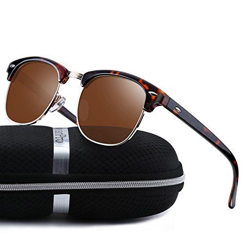 Clubmaster Sunglasses for Men Women - wearPro Retro Semi-Rimless Polarized Sun Glasses WP1006 Brown/Leopard