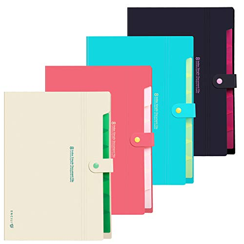 Skydue 8 Pockets Expanding File Folders Portable A4 and Letter Size Accordion Paper Document Organizer, Pack of 4