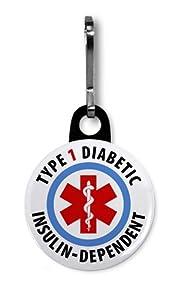 TYPE 1 DIABETIC Insulin Dependent Medical Alert 1 Black Zipper Pull Charm