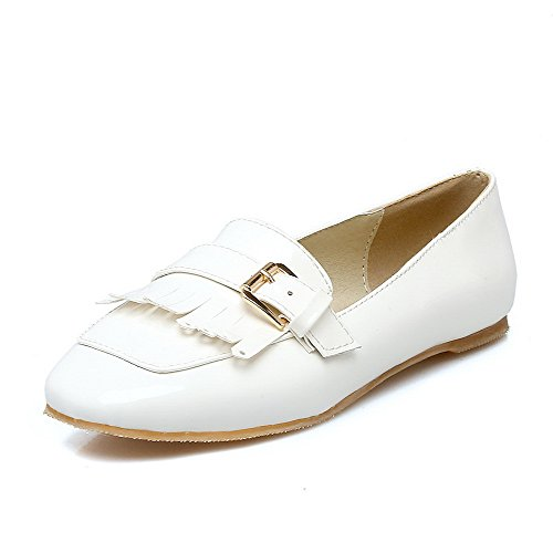 Shoes On Solid Heels Square Low Women's PU Pull Pumps Toe VogueZone009 White vXqfw