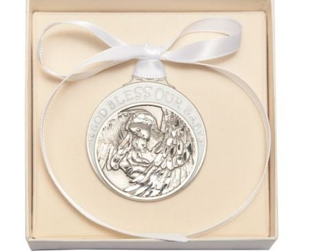 Pewter Baby with Guardian Angel Crib Medal with White Ribbon - Boxed by Truefaithgifts ()