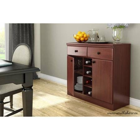 South Shore Morgan Storage Console/Buffet,Royal Cherry | Metal drawer slides for smooth gliding by South Shore