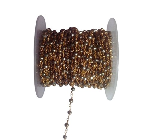 3 feet Natural Pyrite Bead 4mm 24k Gold Plated Rosary Style Chain by bestinbeads, Natural semi Precious Gemstone Beaded Chain by The Foot, Jewelry Making Chain