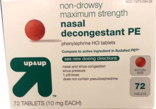 Décongestionnant nasal PE sans somnolence Force maximum 72ct En Up & Up, comparer pour Sudafed PE