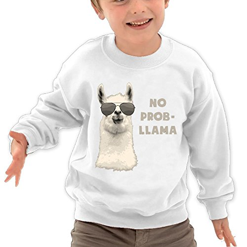 Price comparison product image Puppylol Problem Llama Kids Classic Crew-neck Pullover Hoodie White 2 Toddler