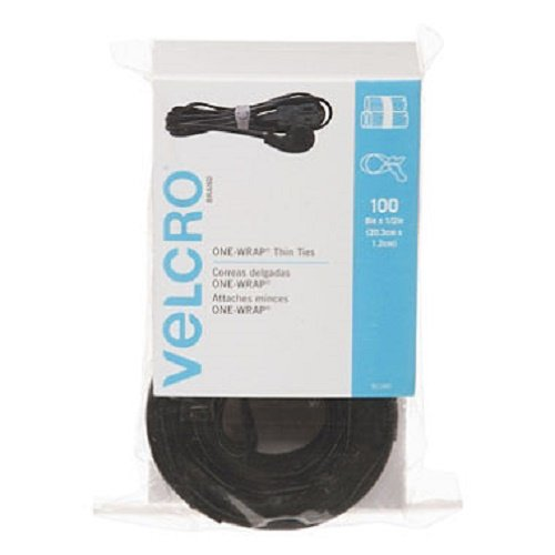 Velcro Reusable Self-Gripping Cable Ties, 0.5 Inches x 8 Inches Long, Black, 100 Ties per Pack (91140) 4 Pack