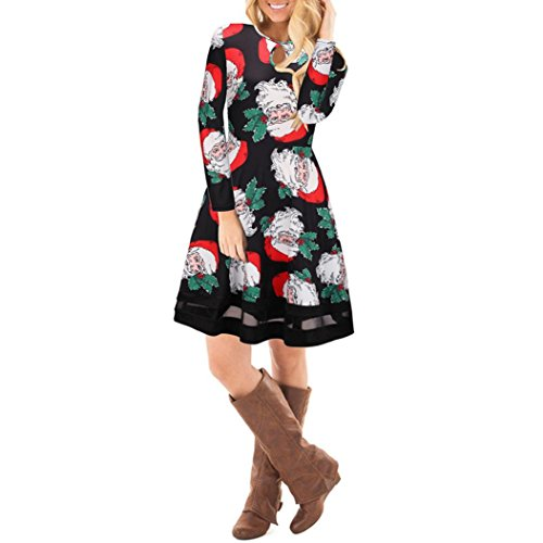 b2d50cd4204a Xmansky Damen Weihnachten Gedruckt Spitze Xmas Rentier Langarm Swing Mini  Kleid Schwarz5 nsNVD ...