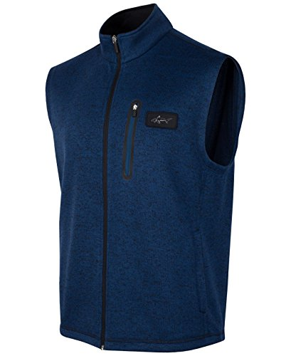 Greg Norman Socket Men Mock Neck Full Zip Sweater Vest Blue LT Zip Sweater Vest