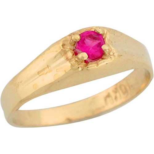 Price comparison product image 10k Yellow Gold Simulated Ruby July Birthstone Cute Baby Ring
