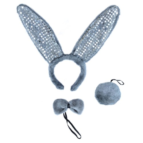 SeasonsTrading Gray Plush Sequin Bunny Ears Costume Set ~ Halloween Rabbit Kit