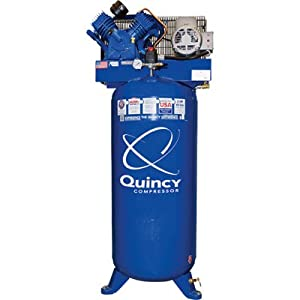 - Quincy QT-54 Splash Lubricated Reciprocating Air Compressor - 5 HP, 230 Volt, 1 Phase, 60-Gallon Vertical, Model# 2V41C60VC