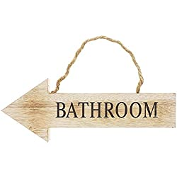 Juvale Rustic Wood Arrow Hanging Bathroom Wall Sign, 15.5 x 5.5 Inches
