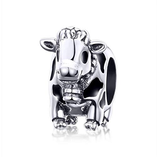 - Eternalll Jewellery Original 100% 925 Sterling Silver Charm Bead Love Animal Charm Family Birthday fit Pandoras Bracelets DIY Charms (Cow Charms)