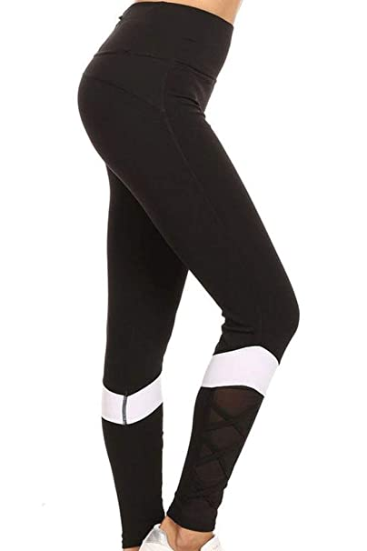 014c7087ccaa39 Runner Island Womens Black White Block Mesh Workout Leggings High Waisted  Compression and Reflective Zipper Pocket