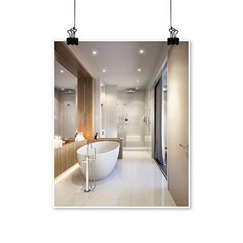 Home Decor Spacious Bright bathroo White Tile Mirror Bathtub Shower Cabin Art Wall Art for Room,24