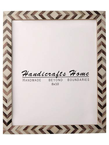 Handicrafts Home Brown White Chevron Picture Frames - Mosaic Moroccan Pattern Bone Inlay Handmade - Premium Quality Pine MDF Wood Back with 2mm Ultra Transparent Acrylic Plexiglass - Hang or Sit 8x10 -