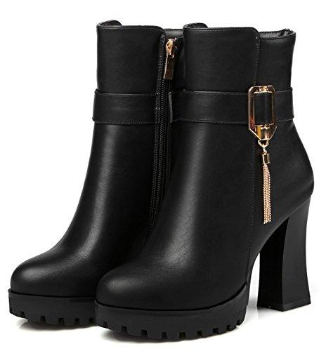 Aisun Kvinna Mode Spänne Rem Chunky Hög Klack Tossor Dragkedja Inne Upp Spetsiga Tå Plattform Boots Med Dragkedja Svart