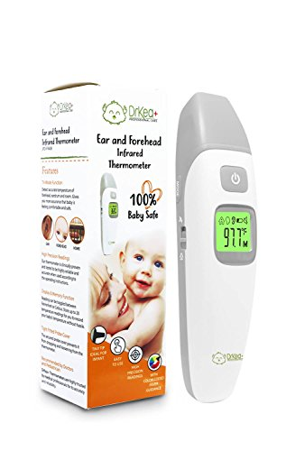 Baby Thermometer - Forehead and Ear Thermometer For Fever By DrKea - Accurate Dual Mode Professional Medical Body Fever Thermometers for Baby, Kid and Adult | CE and FDA Approved Clinical Thermometer