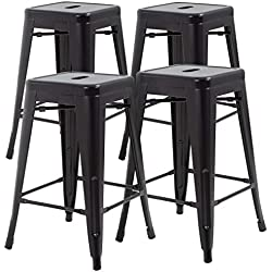 FDW Metal Stools Bar Stools 24 Inch Counter Height Stackable Barstools Indoor Outdoor Patio Furniture Dining Backless Kitchen Bar Stools Set of 4