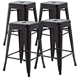 FDW 24 Inch Counter Height Stackable Barstools Indoor Outdoor Patio Furniture Dining Backless Kitchen Bar Stools Set of 4