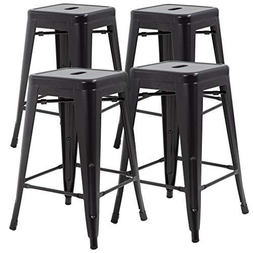 (Metal Stools Bar Stools 24 Inch Height Stackable Barstools Indoor Outdoor Dining Backless Kitchen Bar Stools Set of 4)