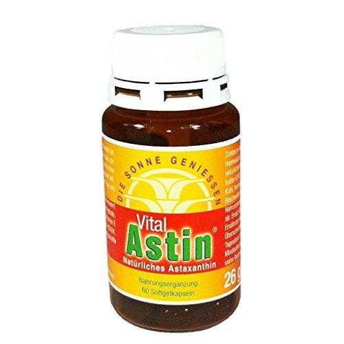 Astaxanthin - DIE SONNE GENIESSEN - Versandkostefrei - 60 Kapseln VitalAstin mit 4 mg natürlichem Astaxanthin + Vitamin E - Das Original Ivarssons VitalAstin - Schutz für Haut von innen - Sonnenschutzmittel - Sonnenschutz allergische Haut - besser als Sonnencreme