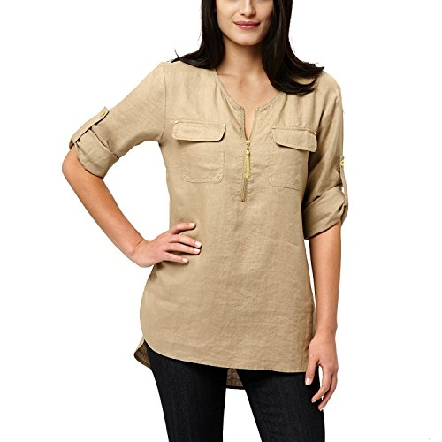 Ellen Tracy Ladies' Roll Tab Linen Tunic,Size Small, Color Sandstone