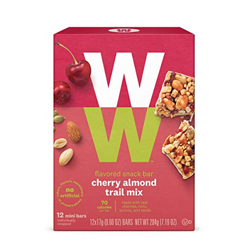 (WW Cherry Almond Trail Mix Mini Bar - High Protein Snack Bar, 2 SmartPoints - 1 Box (12 Count Total) - Weight Watchers Reimagined)