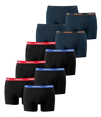 HEAD Herren Boxershorts 841001001 10er Pack, Wäschegröße:L;Artikel:3x Red/Blue/Black / 2x Peacoat/Orange