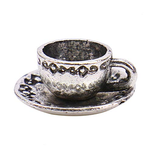 - Monrocco 40 Pack Antique Silver 3D Tea Coffee Cup Charms Pendant Bulk for Bracelets Jewelry Making