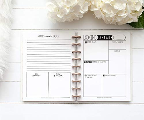 BetterNote Looking Ahead Monthly Reflection Page for Happy Planner, Fits 9-Disc Notebooks, 7