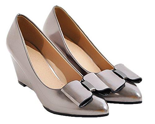 AgooLar Femme Tire Fermeture d'orteil à Talon Correct Verni Chaussures Légeres Argent RDhQGUfQzS
