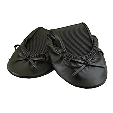 Solemates Purse Pal Foldable Bowed Ballet Flats w/ Expandable Tote Bag for Carrying Heels (Small (5 - 6.5), Black)