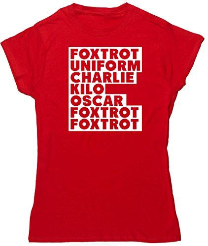 HippoWarehouse FOXTROT UNIFORM CHARLIE KILO camiseta manga corta ajustada para mujer: Amazon.es: Ropa y accesorios